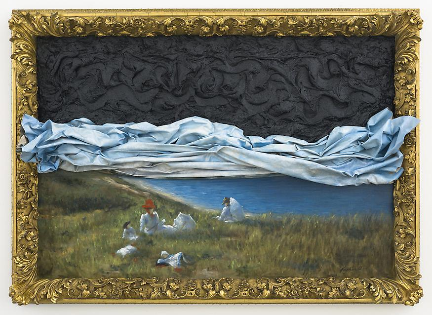 Picnic, 2012 Oil and tar on canvas 35.375 x 49.25...
