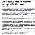 Dissident artist Ai Weiwei accepts Berlin post