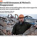 Art World Denounces Ai Weiwei's Disappearance