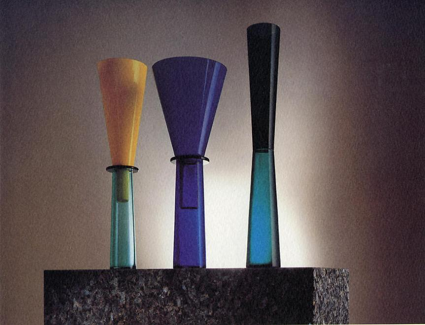 "No. 4, 1994 Blown glass vases with base in ""marina..."