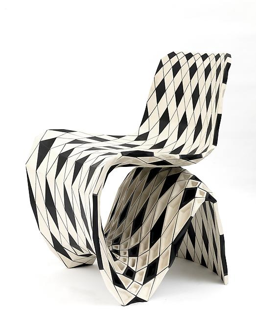 Maker Chair (Puzzle), 2014 Black and white maple 3...