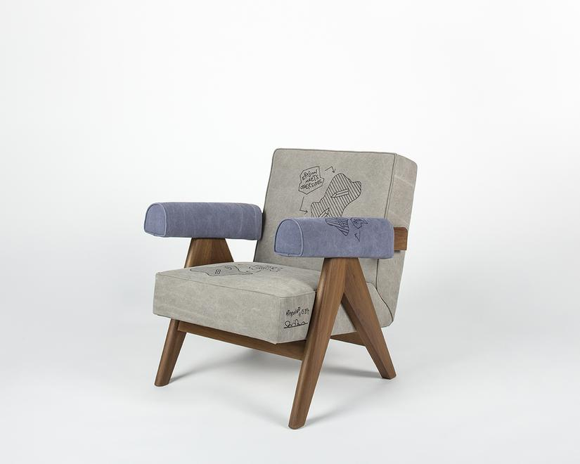 India Lounge Chair III, 3019 Wood, upholstered fab...