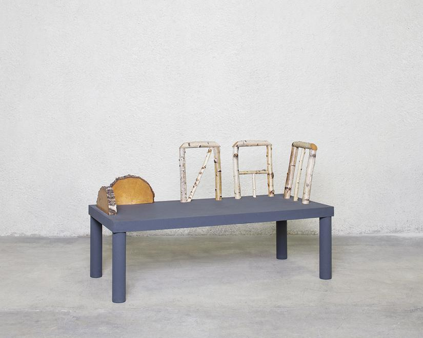Animali Domestici Bench, 1985 Lacquered wood, birc...