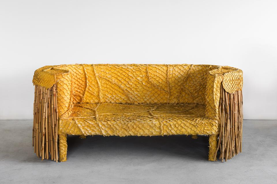 Pirarucu Sofa, 2014 Pirarucu leather and bamboo 27...