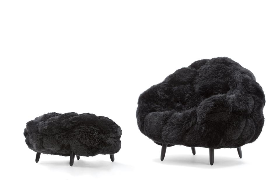 Bolotas Armchair & Puff (Black) Sheep's wool a...