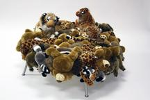 Cake Stool, 2008 Stuffed animals, stainless steel...