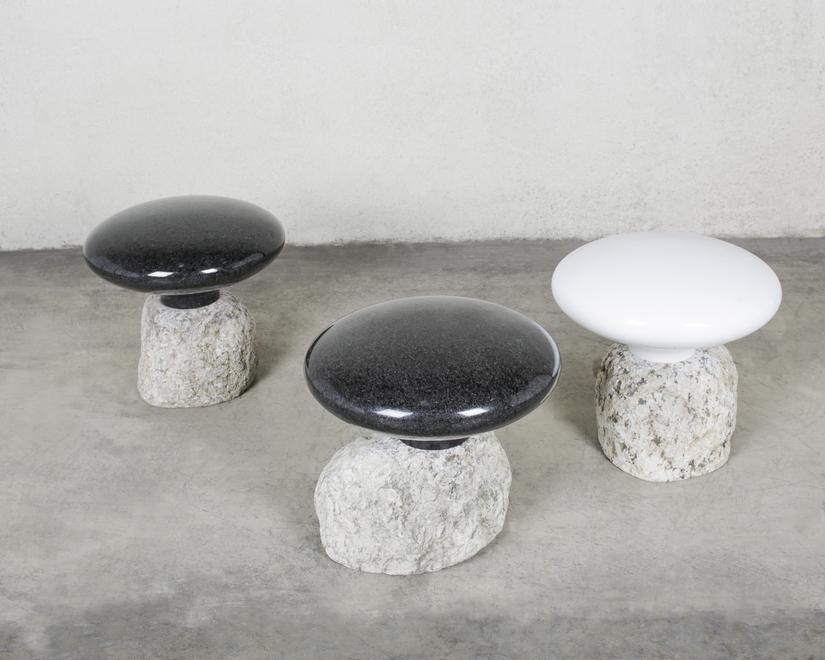 beyond the image stools White marble, black granit...
