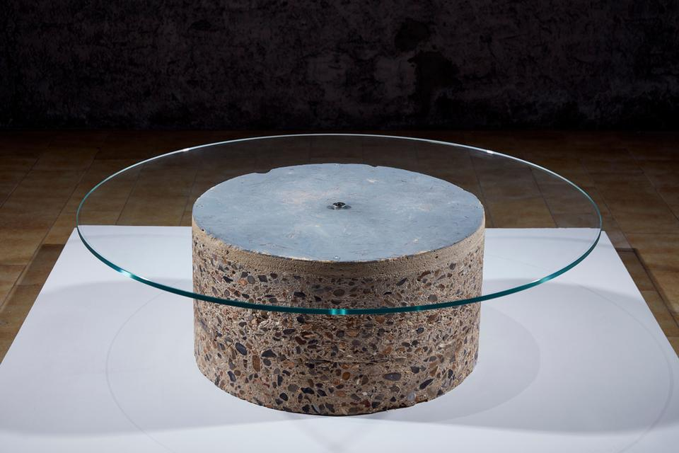 Core Table, 2017 Concrete and glass 18.5 x 47.25 x...