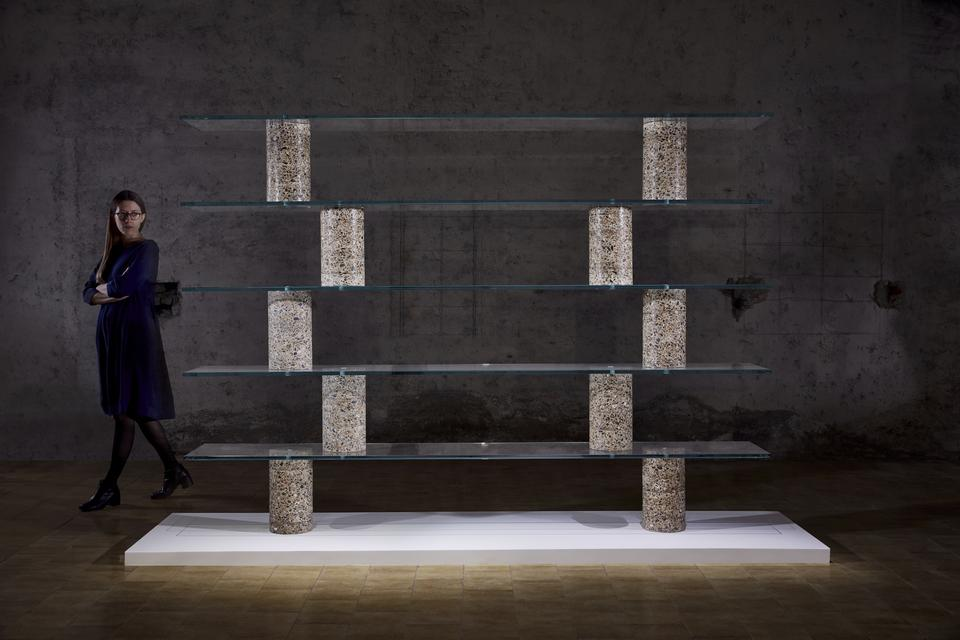 Core Shelf, 2017 Concrete and glass 74.75 x 94.5 x...