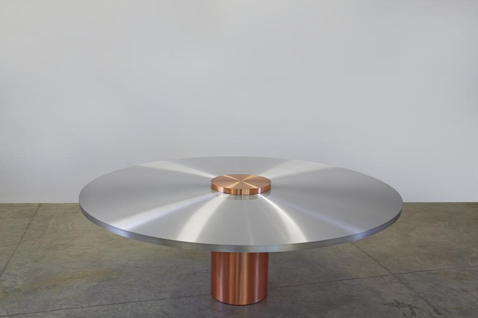 Freeze Round Table, 2015 Aluminum plate, copper le...