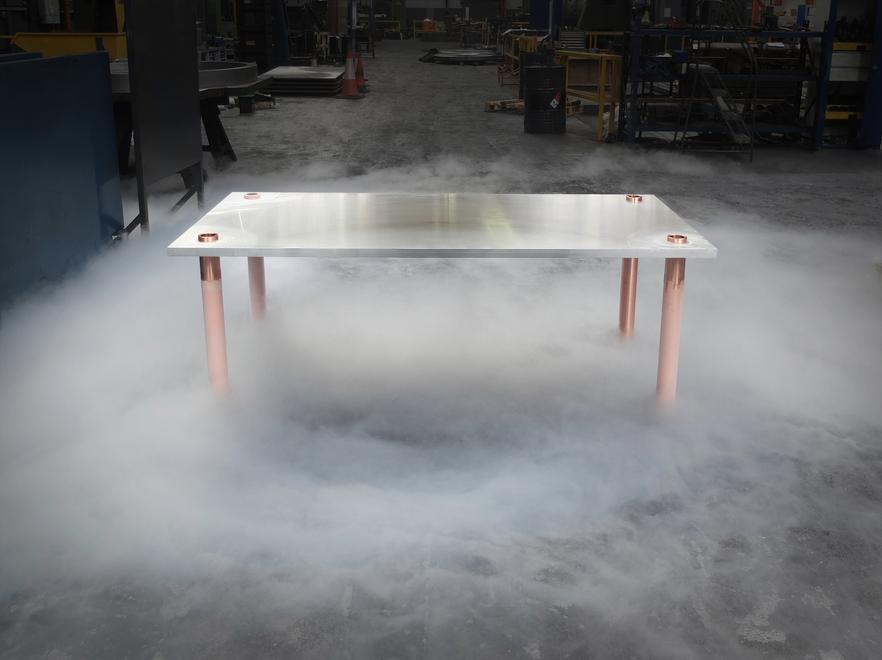 Freeze Rectangle Table, 2015 Aluminum plate, coppe...