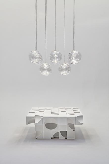 Performance Scooped, 2020 Plaster, glass, LED Tabl...