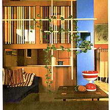 An apartment interior in Milan designed by Ettore...