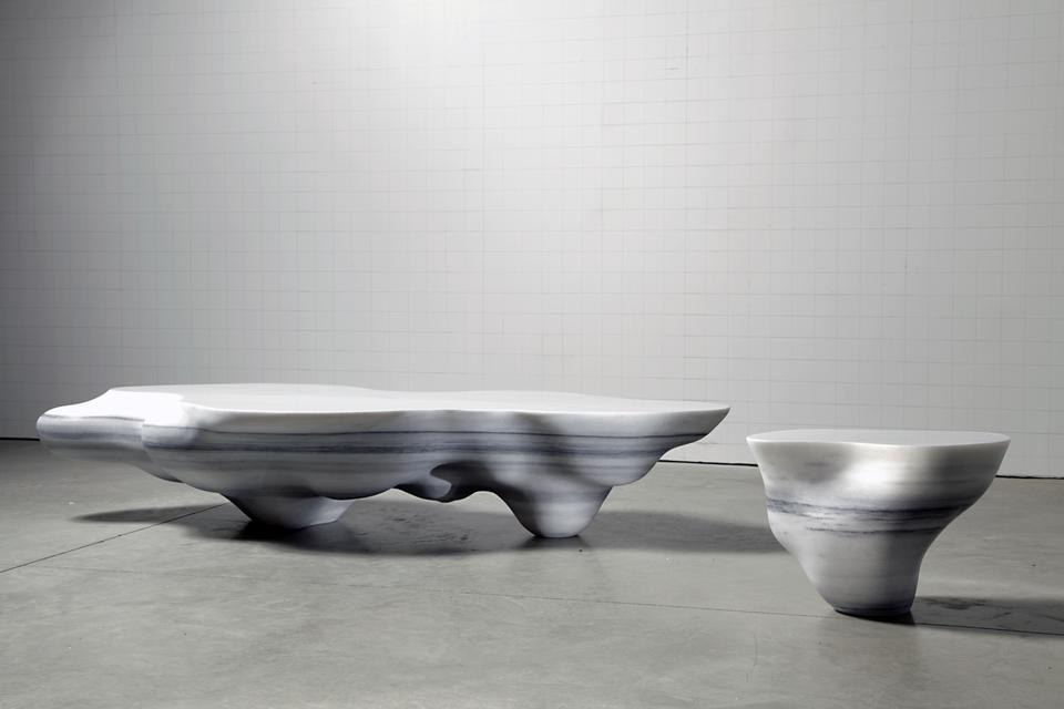 Cumulus Table, 2010 Carrara Marble Large: 13.78 x...