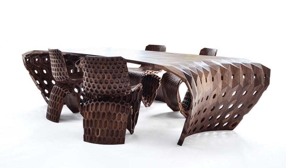 Maker Table (Hexagon), 2014 Walnut 29.5 x 118 x 51...