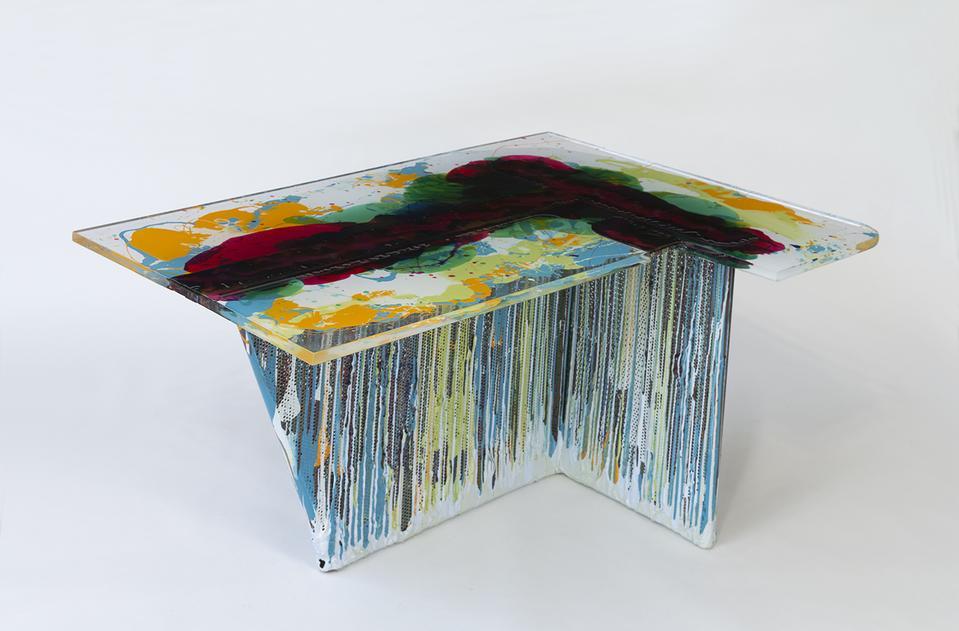 Dripping Table, 2020 Steel frame, plexiglass, fibe...