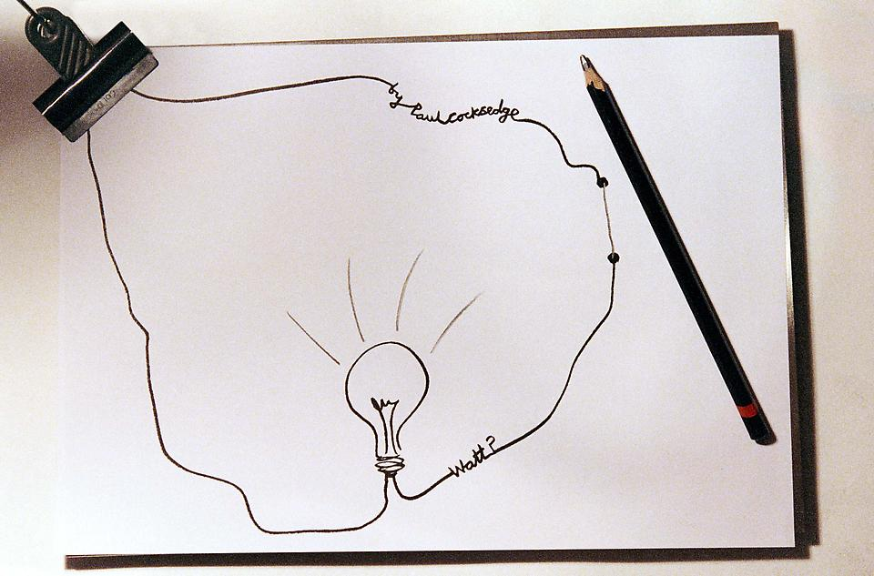 Watt?, 2003 Steel, paper, pencil and graphite 8.26...
