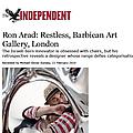 Ron Arad: Restless, Barbican Art Gallery, London
