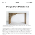 Design Days Dubai 2012 - Press