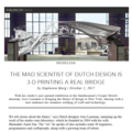 The Mad Scientist of Dutch Design is 3D Printing a...