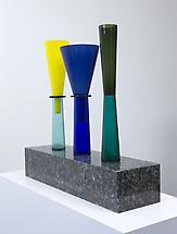 No. 4, 1995 Blown glass vases, base in marina perl...