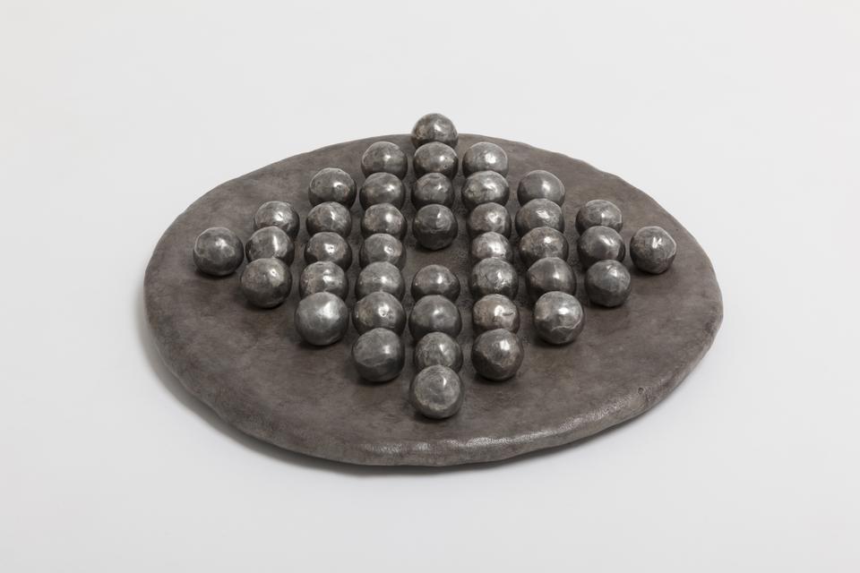 Solitaire / Moon, 2016 Sand-cast bronze, silver ni...