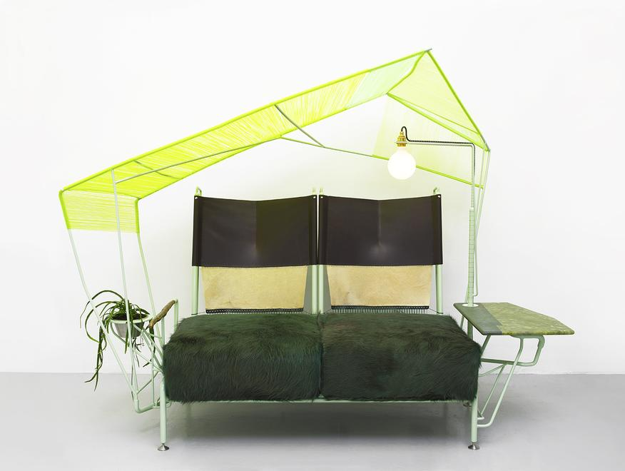 Grass Green Settee, 2020 Powder-coated steel, stai...