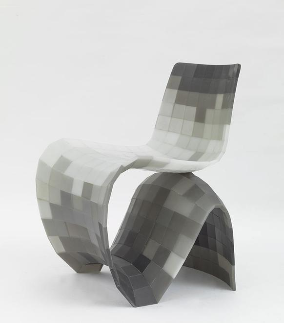 Maker Chair (Pixel), 2014 Resin 30.75 x 23.6 x 25....