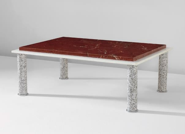 Coffee Table, 1984 Rosso Levanto marble, white mar...