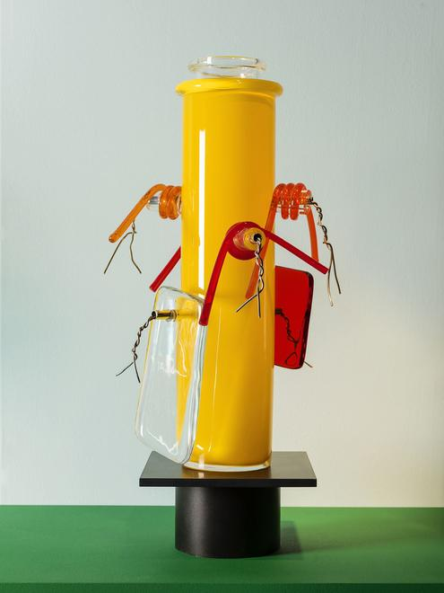 Vase no. 11, 2006 Glass and aluminum polished wire...