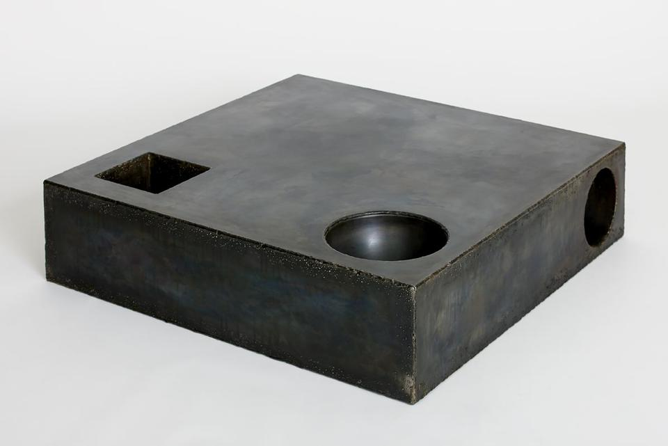 Element Table / Steel Patinated steel, resin 9.5 x...