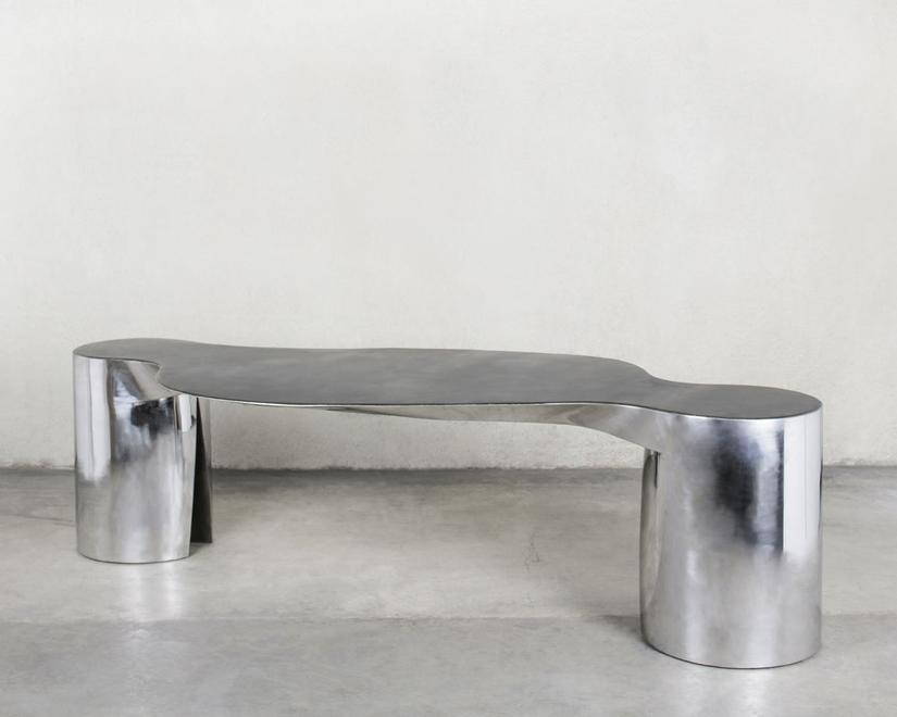 Two Legs and a Table, 1994 Patinated and polished...