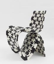 Maker Chair (Puzzle 3D), 2014 Black and white nylo...