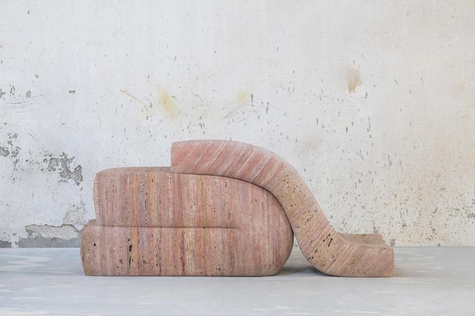 Seduction, Pair 06, 2019 Iranian red travertine 27...