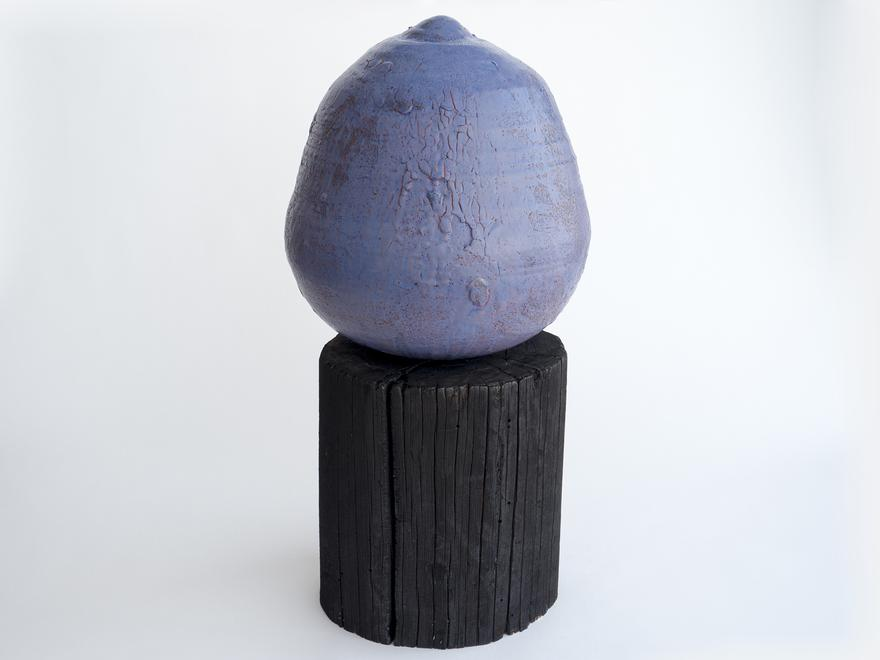 Untitled, 2016 Stoneware and wood 26.25 x 13.5 x 1...