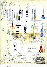 Drawings of Totems, Menhir, Ziggurat, Stupas, Hydr...